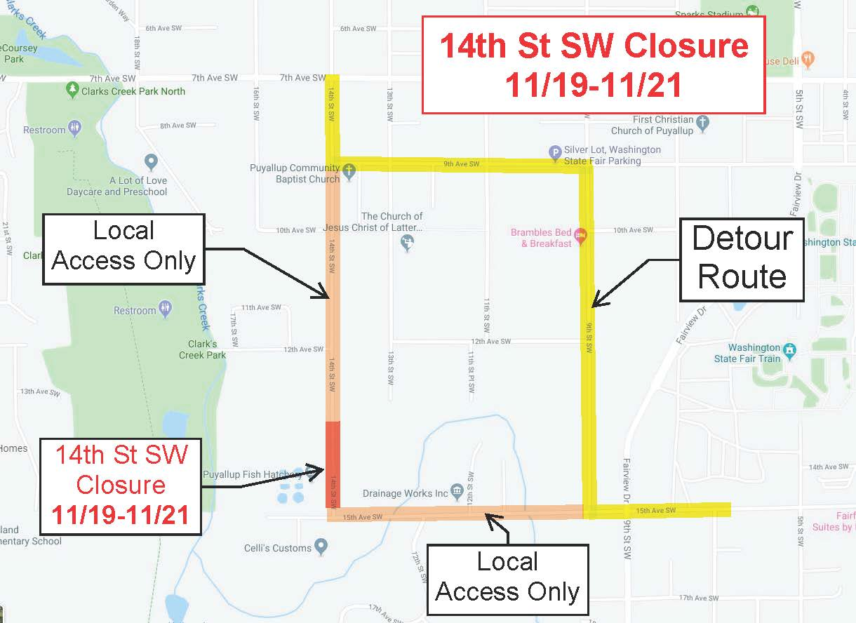 14th St SW - Detour Nov 19-21
