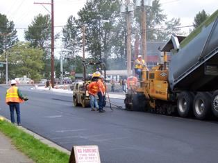Street Maintenance Working on an Asphalt Overlay