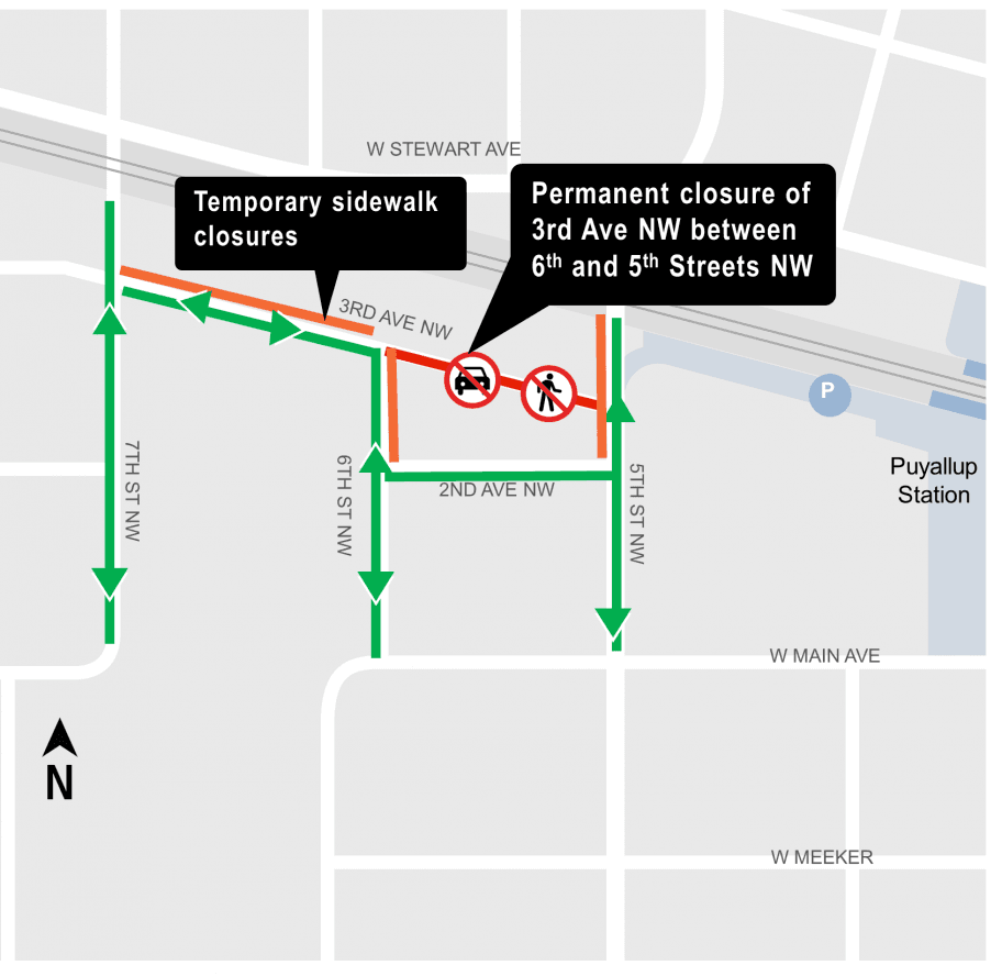3rd Ave NW street closure map Sound Transit