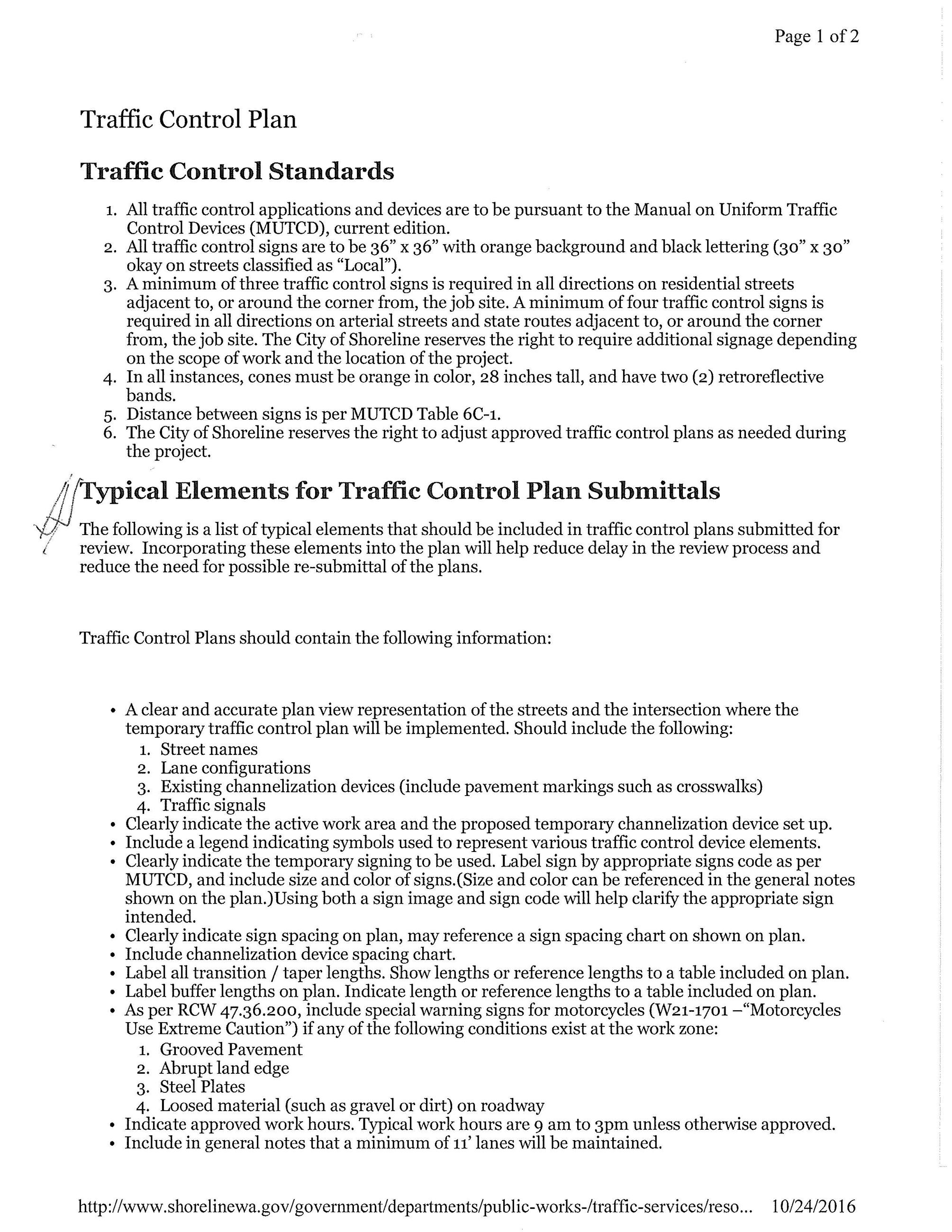 Traffic Control Standards