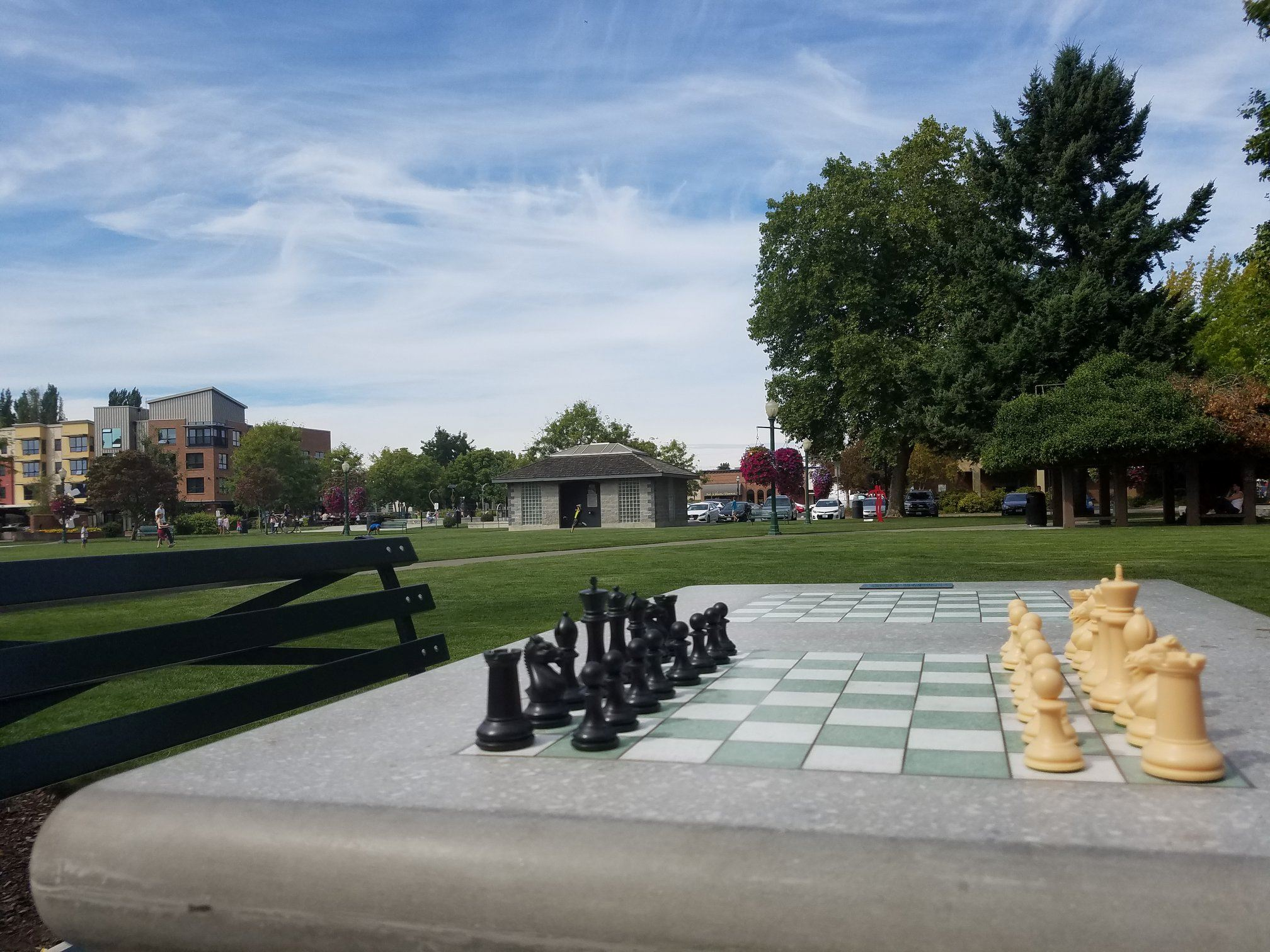 Chess tables set up