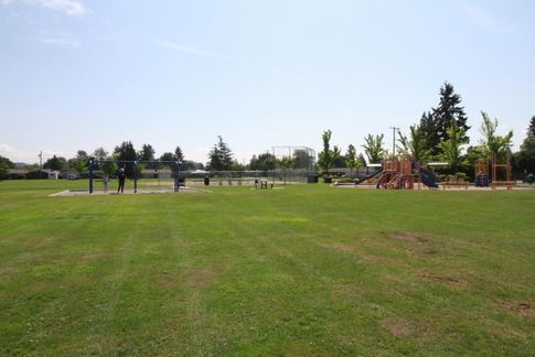 A far view of the playground and grass areas