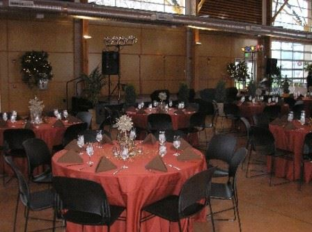 Banquet Tables - red table cloths