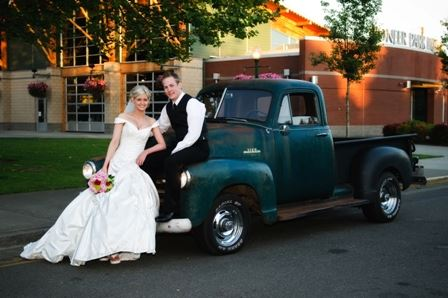 Bride And Groom And Truck