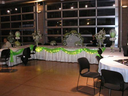 Green and White Tables