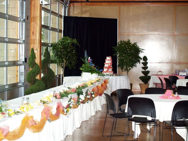 Long Head Table Decorated