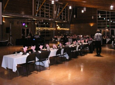 Tables with Pink Centerpieces