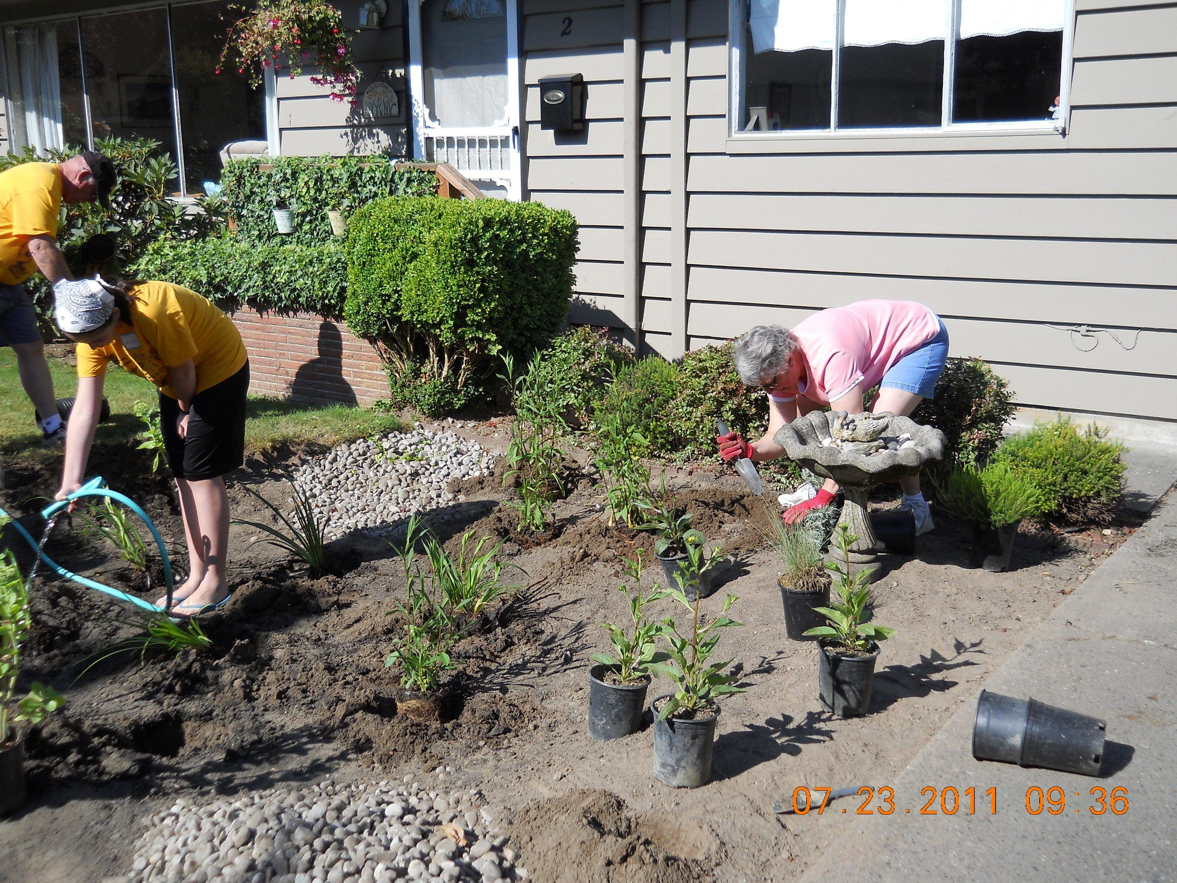 People Working on a Rain Garden