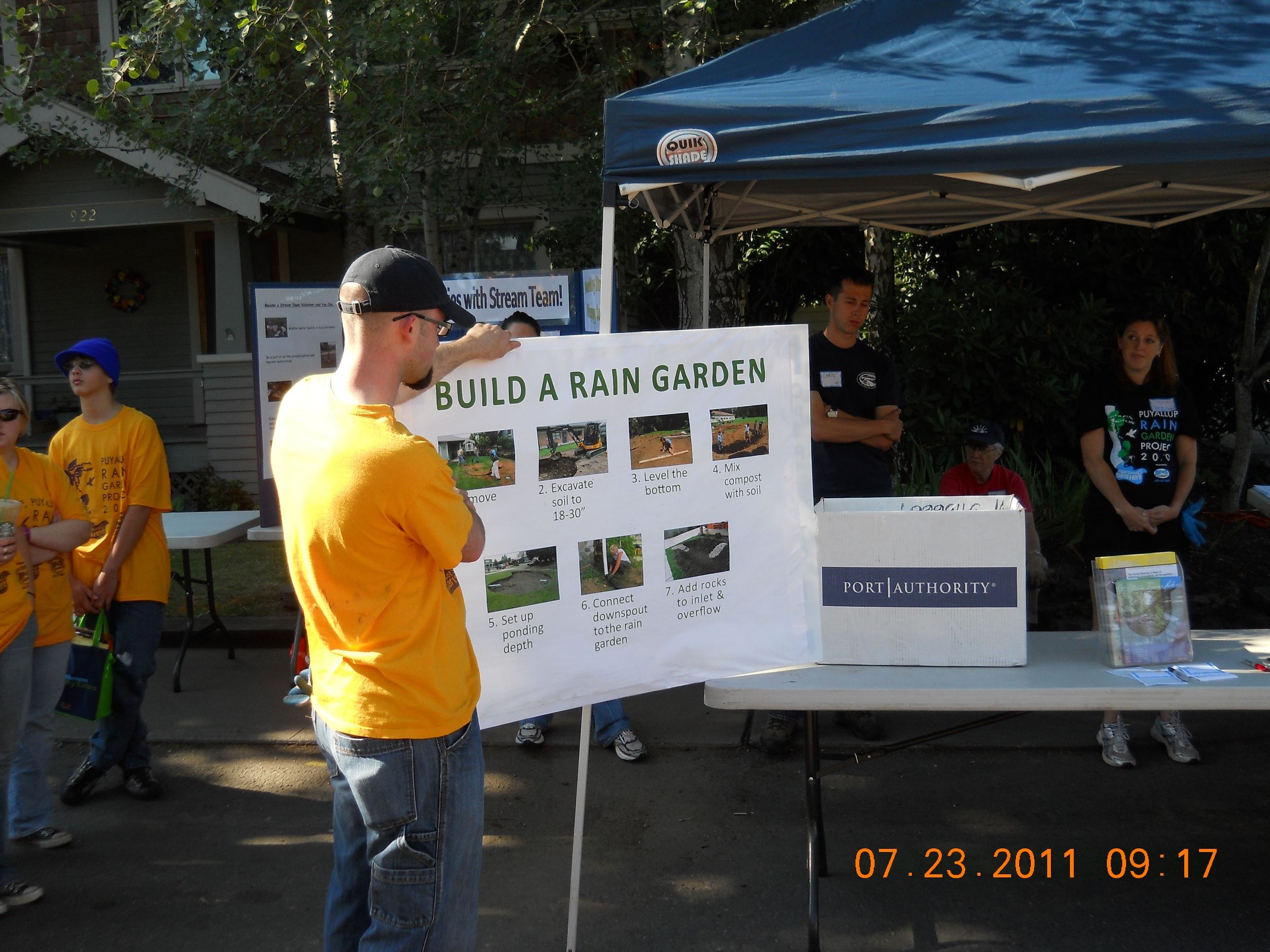 Setting up the Rain Garden Event